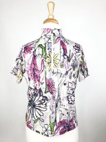 Kerrits Ice Fil Short Sleeve Shirt in Floral -  Front View