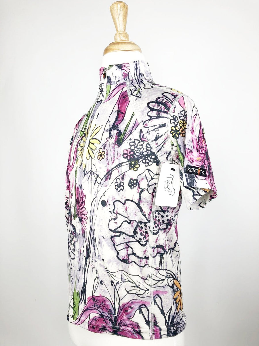Kerrits Ice Fil Short Sleeve Shirt in Floral - Left Side View