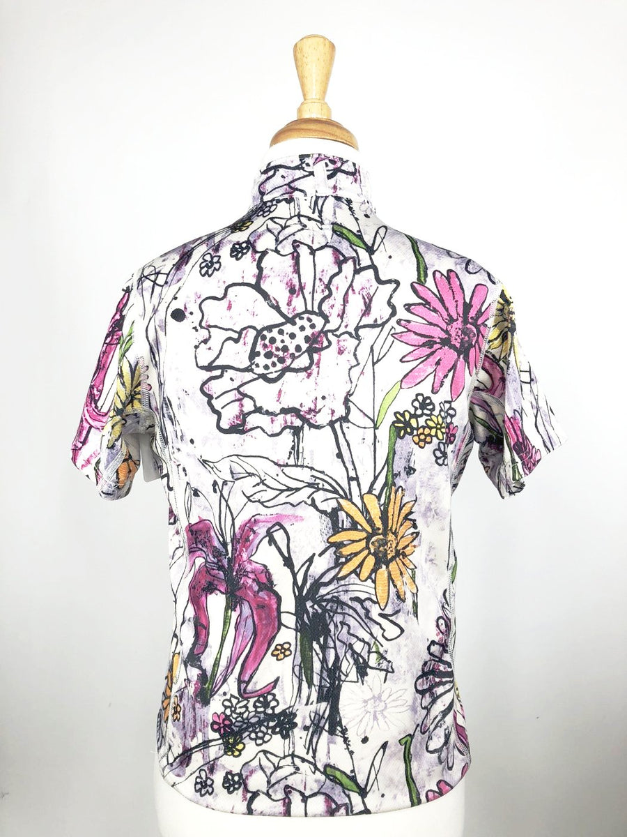 Kerrits Ice Fil Short Sleeve Shirt in Floral -  Back View