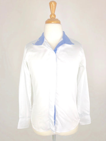 Beacon Hill Show Shirt in White/Blue- Front View