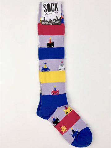 NWT Sock It to Me Knee High Socks in Happy Purrday!