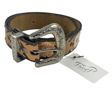 Floral Embossed Genuine Leather Belt in Tan/Black - 30