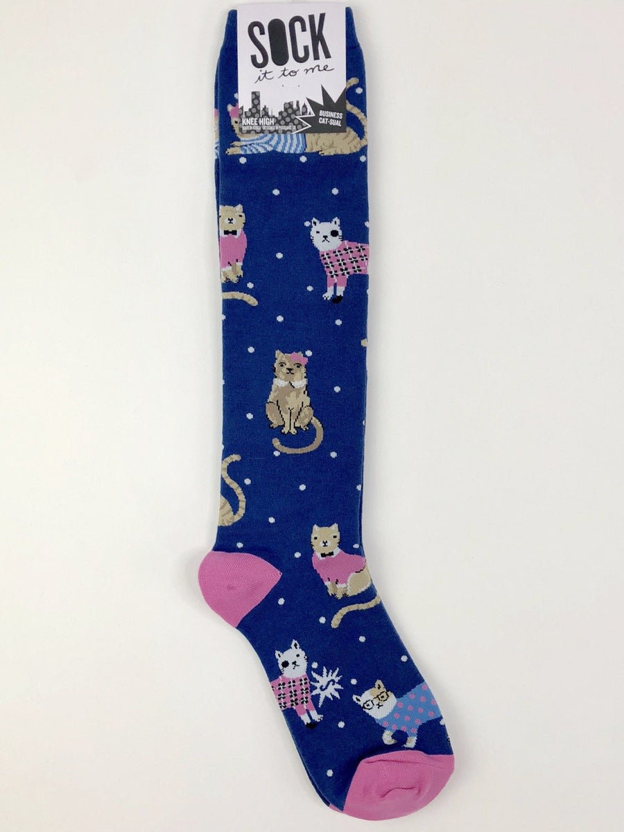 Sock It to Me Knee High Socks in Business Cat-sual