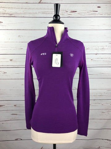 Ariat Cadence Wool 1/4 Zip Top in FEI Purple- Front View