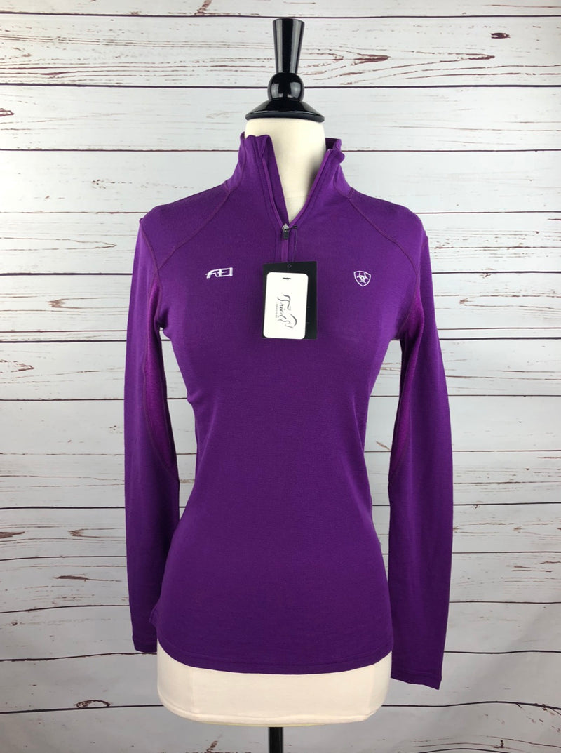 Ariat Cadence Wool 1/4 Zip Top in FEI Purple - Women's XL