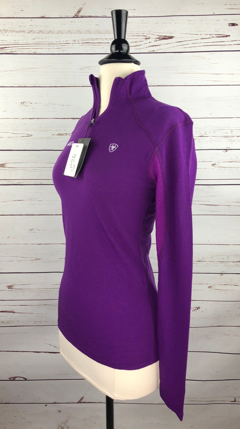 Ariat Cadence Wool 1/4 Zip Top in FEI Purple- Left Side View