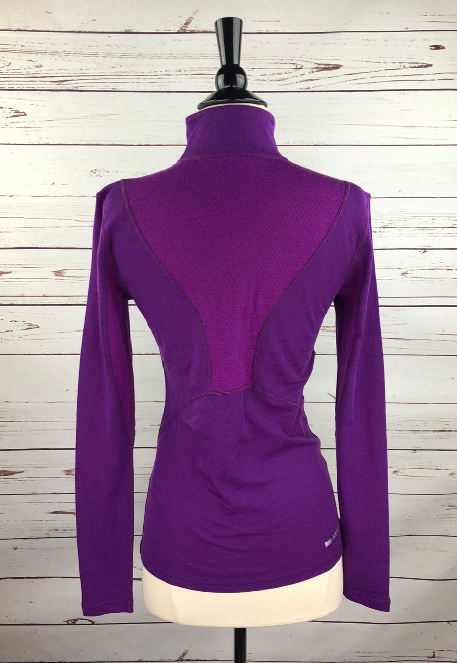 Ariat Cadence Wool 1/4 Zip Top in FEI Purple- Back View