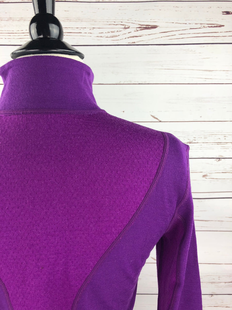 Ariat Cadence Wool 1/4 Zip Top in FEI Purple- Back Shoulder View