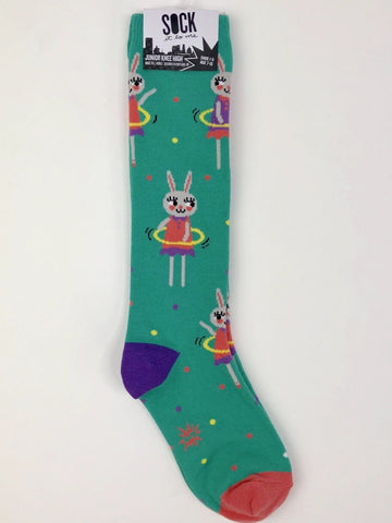 Sock It to Me Junior Knee High Socks in Hula Hoopin' Bunnies