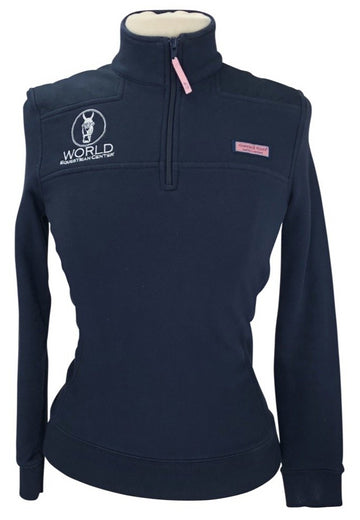 front view of Vineyard Vines 'WEC' 1/4 Zip Pullover in Navy- logo on right shoulder