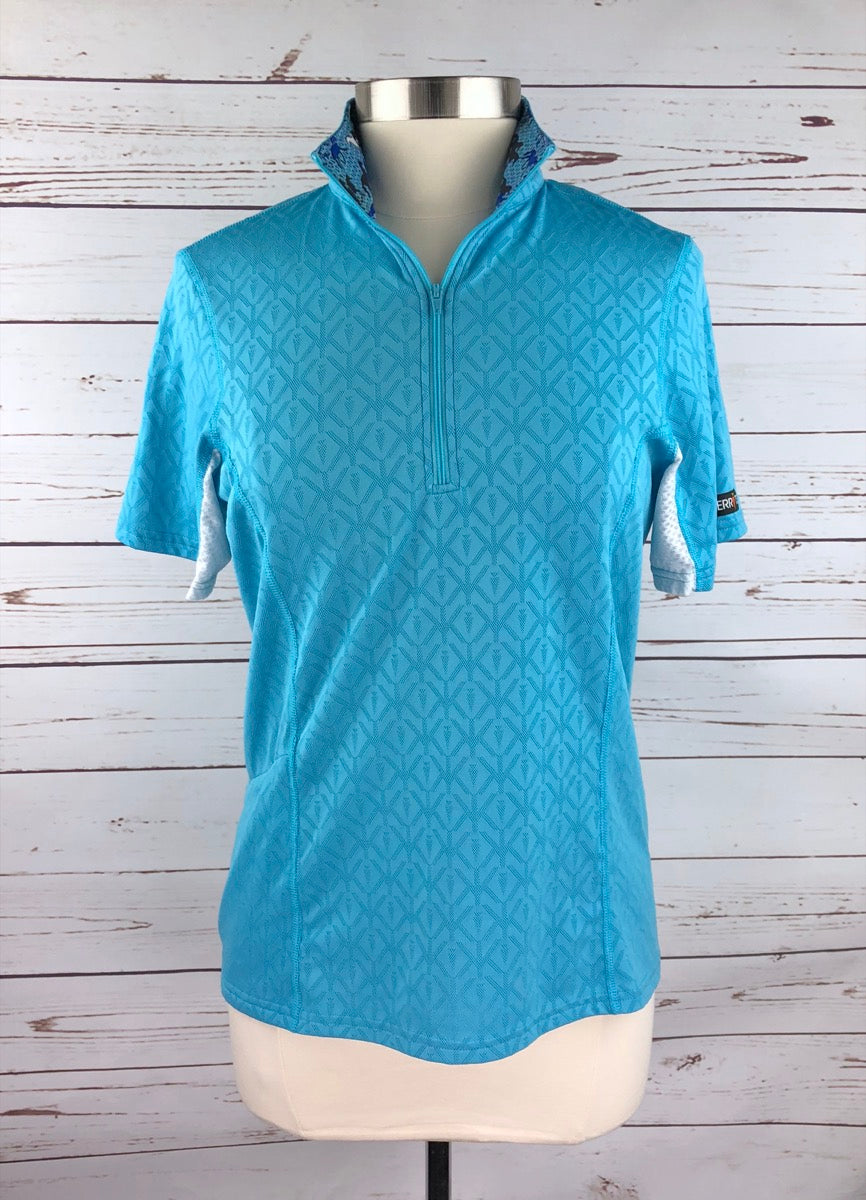 Kerrits Hybrid II Riding Shirt in Aqua - Women's Medium