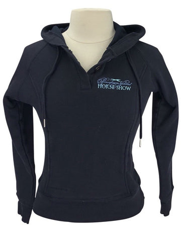 front view of StormTech 'Pennsylvania National HS' Hoodie in Black- logo on left shoulder