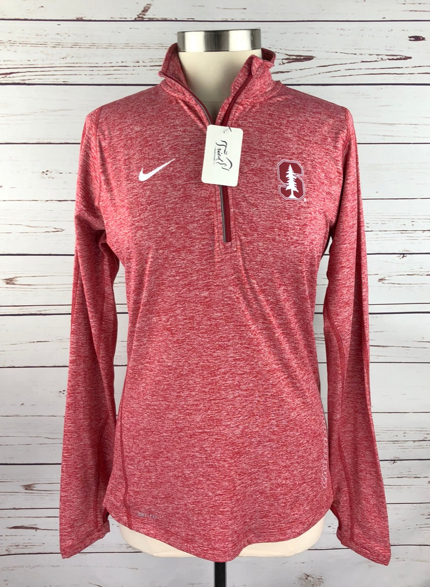 Nike Dri-Fit Stanford Cardinal 1/4 Zip in Red Heather - Front View