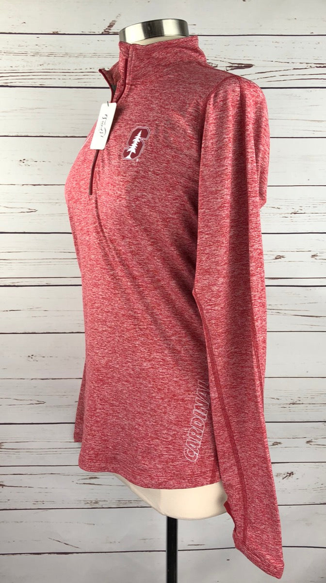 Nike Dri-Fit Stanford Cardinal 1/4 Zip in Red Heather - Left Side View