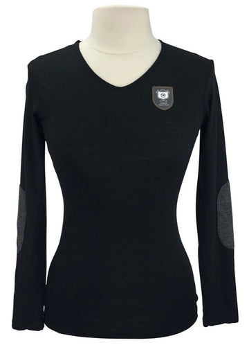 front view of Asmar Equestrian Merino Wool V-Neck in Black with logo on left shoulder