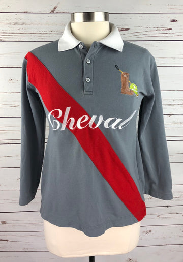 Cheval 3/4 Sleeve Polo in Grey/Red -  Front View