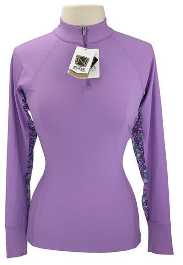front view of Noble Outfitters Ashley Performance Long Sleeve in Hyacinth/Floral Mesh