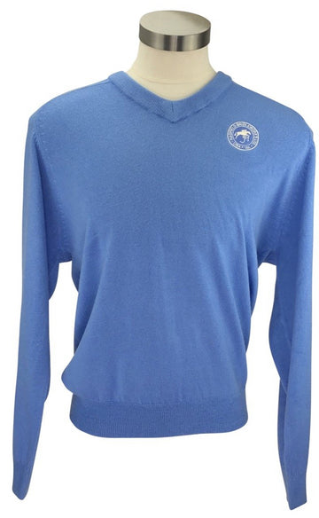 front viewof Cynthia Munro Cashmerlon Sweater in Real Blue with logo on left shoulder