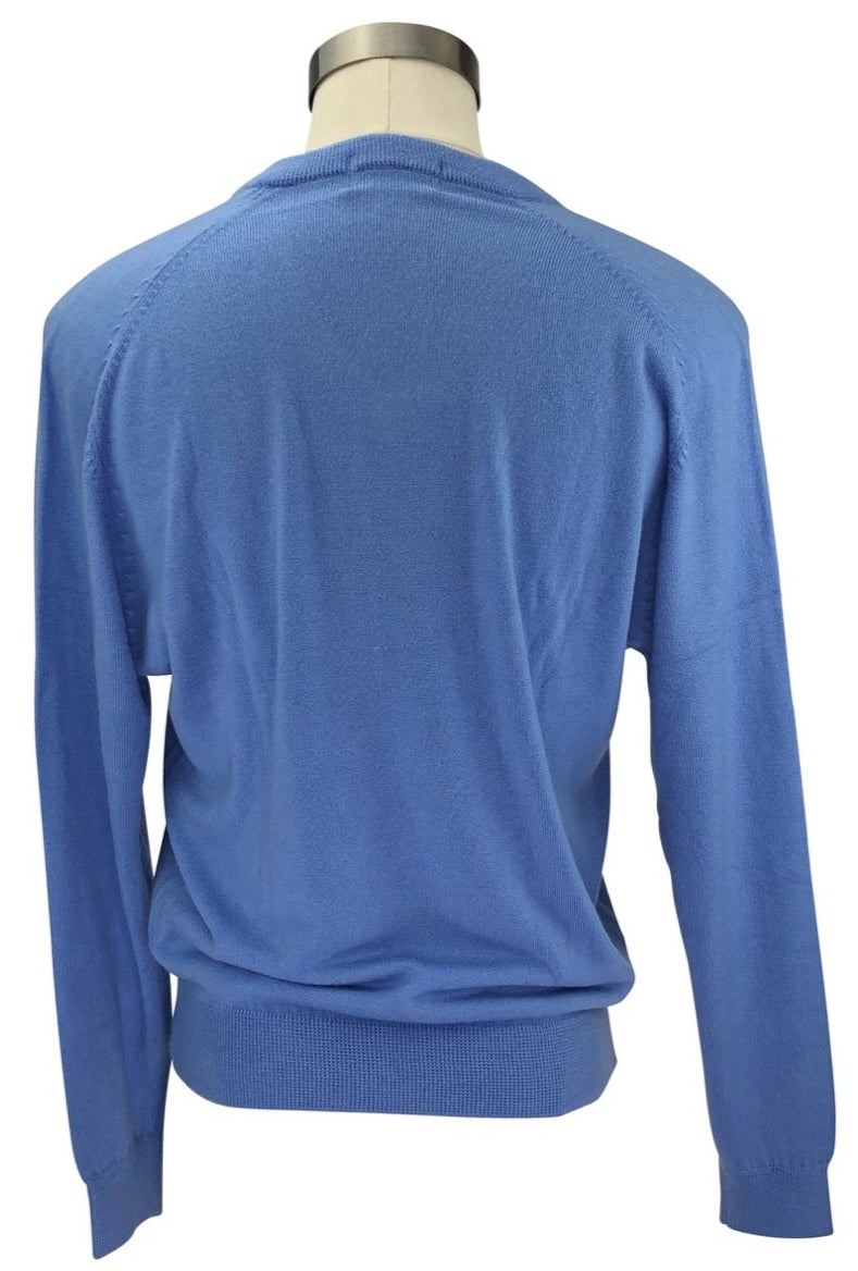 back view of Cynthia Munro Cashmerlon Sweater in Real Blue