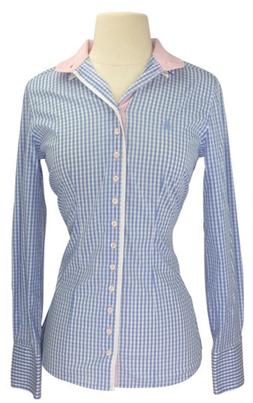 front view of Flor Da Liso Eleonora Shirt in Light Blue Plaid/Pink