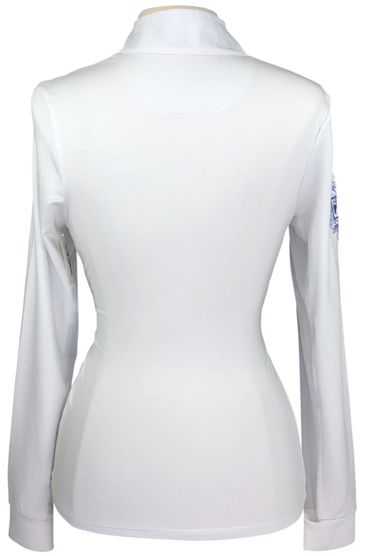 back view of Romfh Signature Long Sleeve Show Shirt in White/Purple Collar