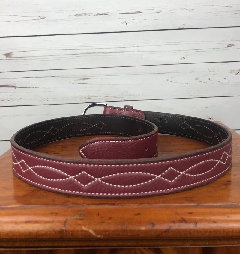 Rebecca Ray Designs 1.5 in. Bridle Stitch Belt in Dark Cranberry - Women's Large