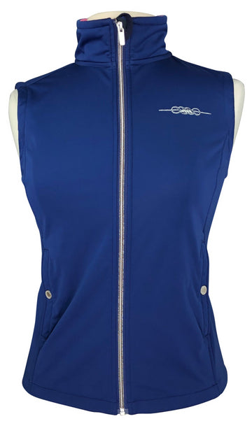 front view of Equiline Soft Shell Vest in Navy with zipper