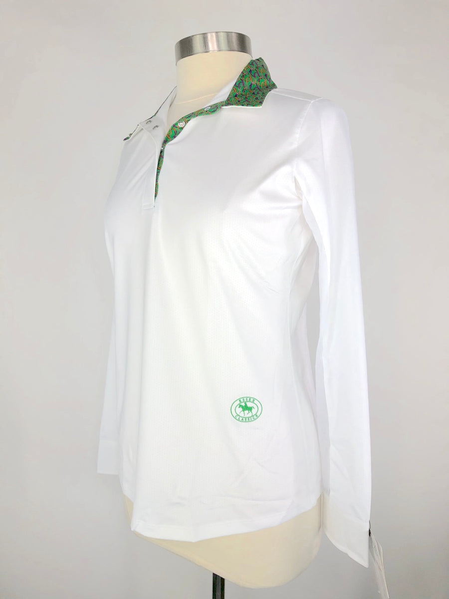 Essex Classics Talent Yarn Show Shirt in White/Green -  Left Side View