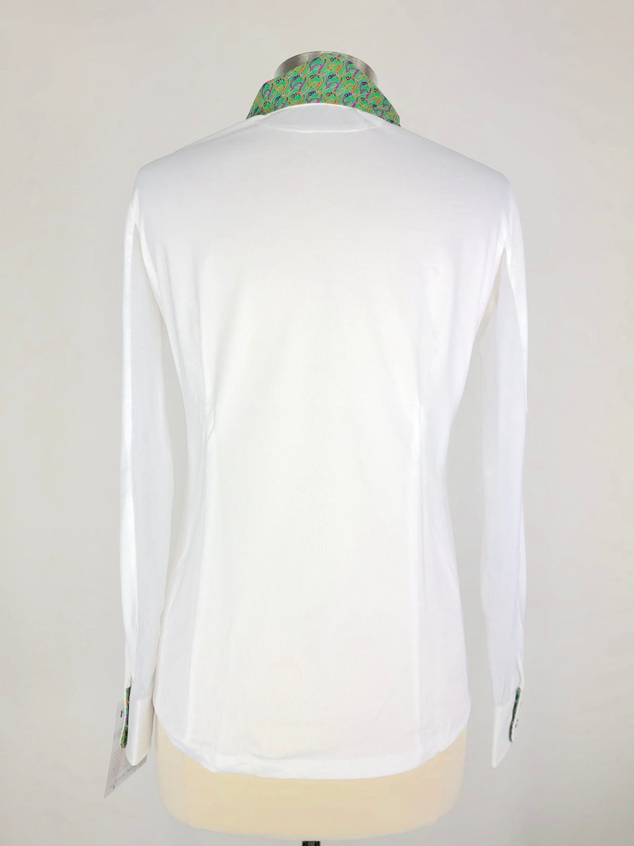 Essex Classics Talent Yarn Show Shirt in White/Green -  Back View