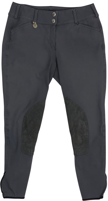 front view of Pikeur Ciara Knee Patch Breeches in Charcoal Grey