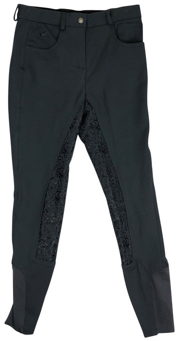 front view of SmartPak Piper Knit Mid Rise Full Seat Breeches in Black