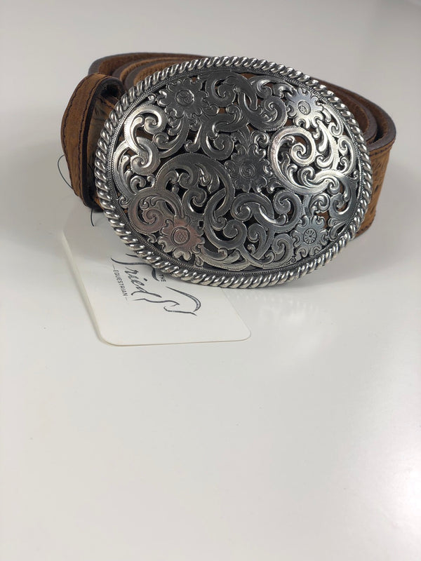 Tony Llama Filigree Trophy Belt in Aged Bark - 32