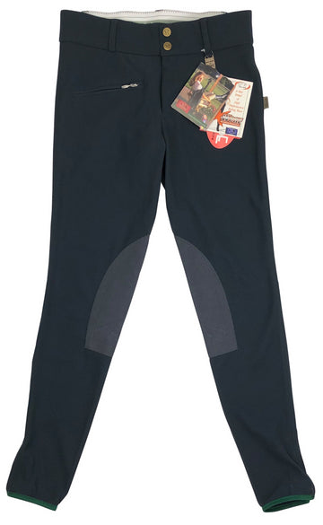 front view of Devon Aire All Pro Ribbed Breeches in Charcoal