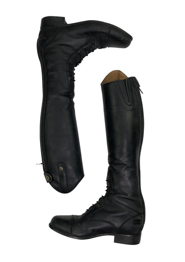 View of outer left and inner right Ariat kids tall boot in black