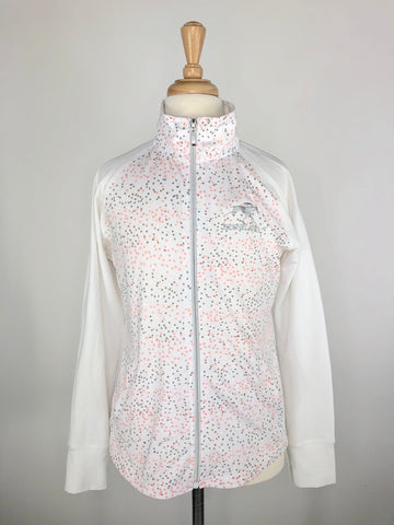 Keeneland Zip Jacket in White/Pink - Girls Large