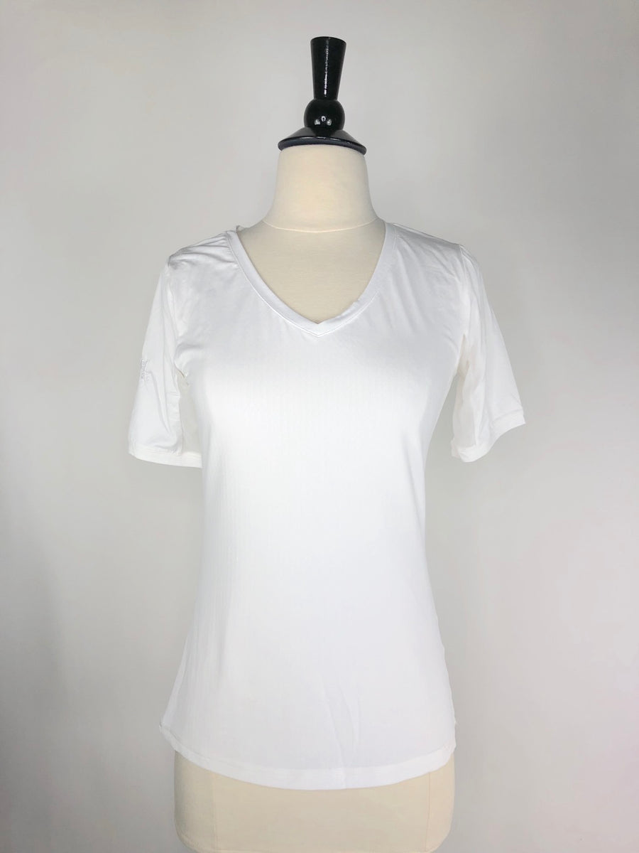 Kastel Charlotte Basics Collection Short Sleeve V-Neck in White - Women's Small