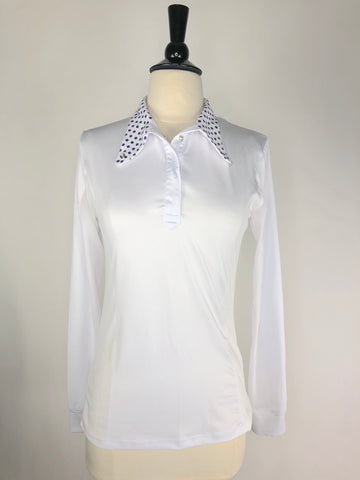 Kastel Charlotte Show Shirt in White/Navy Polka Dots - Front View