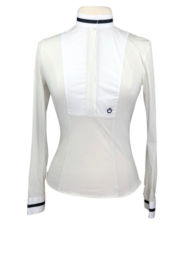 front view of Cavalleria Toscana Ribbon Trim Competition Shirt in Ivory/Navy