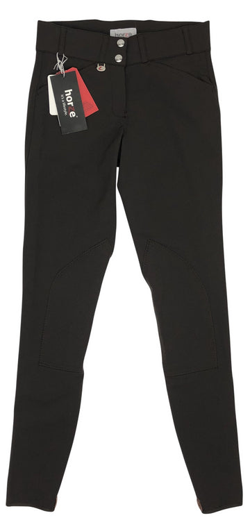 front view of Horze Grand Prix Self Patch Breeches in Turkish Coffee Brown
