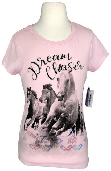 front view of 'Dream Chaser' Horse Tee in Pearl Pink