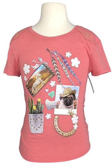 front view of Justice Western Studded Tee in Coral