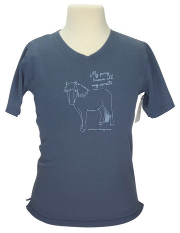 front view of Irideon Pony Secrets Tee in Slate Blue