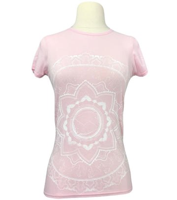 Spiced Equestrian Mandala Bamboo Crew in Light Pink - Women's S