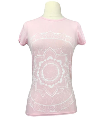 Spiced Equestrian Mandala Bamboo Crew in Light Pink - Women's XS
