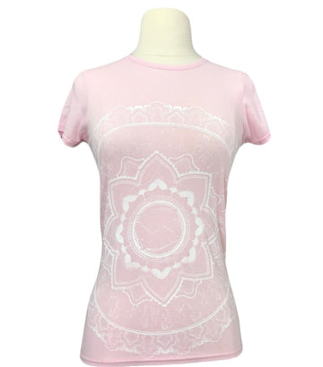 Spiced Equestrian Mandala Bamboo Crew in Light Pink - Women's XL