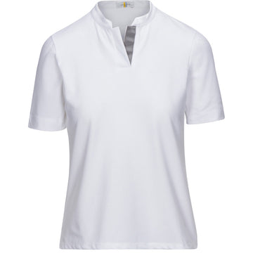 Callidae Short Sleeve Polo in White/Grey Ribbon