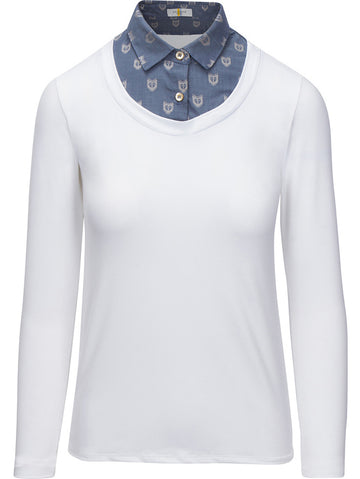 Callidae Practice Shirt in White with Slate Fox collar