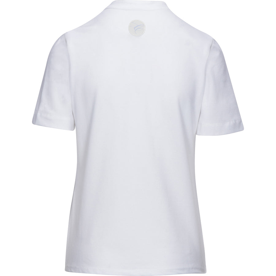 back view of Callidae Short Sleeve Polo in White/Blue Ribbon