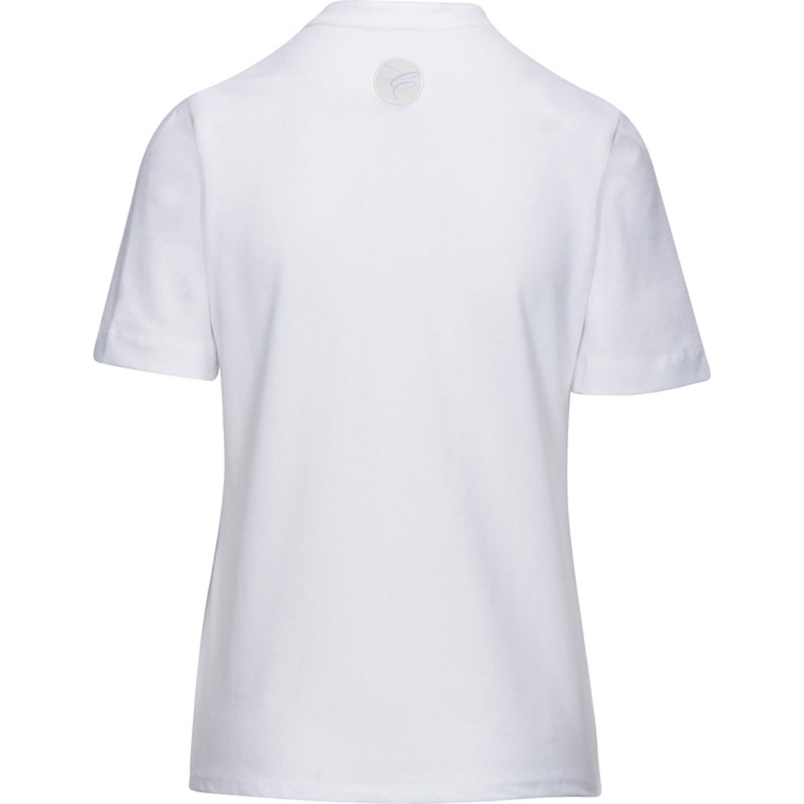 Back of Callidae Short Sleeve Polo in White/Grey Ribbon