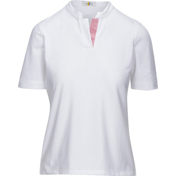 Callidae Short Sleeve Polo in White/Dusty Rose Ribbon